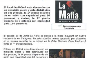 Franquicias al Día – «La Mafia inaugura un nuevo local de su franquicia en Zaragoza» |Julio 2009