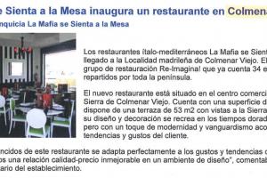 Franquicias Hoy – «La Mafia se sienta a la mesa inaugura un restaurante en Colmenar Viejo» |Septiembre 2009