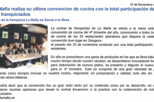 Franquicias Hoy – «La Mafia realiza su última convención de cocina» |Noviembre 2009