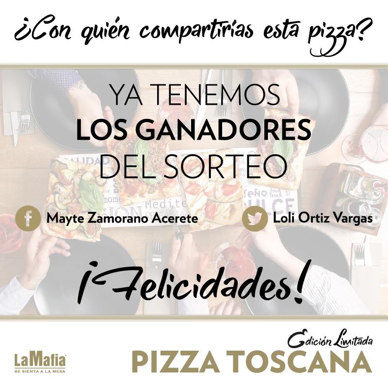 ganadores sorteo pizza - Las ganadoras de nuestra pizza Toscana.