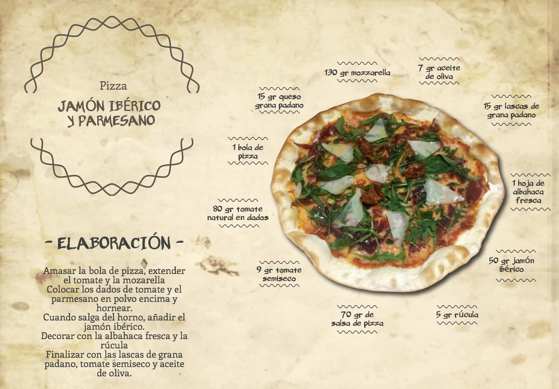 Pizza jamón ibérico y parmesano