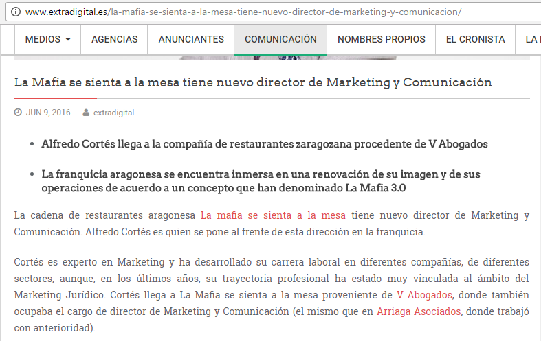 extradigital - Extra digital publica en sus paginas la incorporación de  Alfredo Cortés como director de marketing