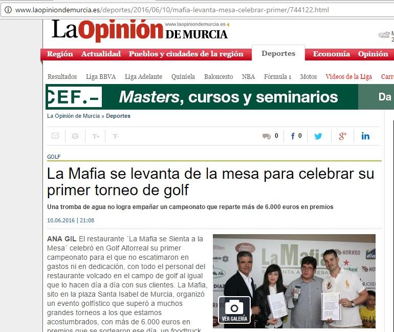 la opinion de murcia - La Opinión de Murcia se hace eco de nuestro torneo de golf.