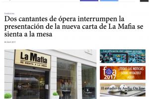 Dos cantantes de ópera interrumpen la presentación de la nueva carta de 'La Mafia se sienta a la mesa'