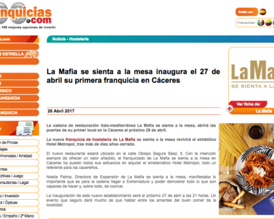 Captura de pantalla 2017 04 26 a las 18.28.57 400x320 - La Mafia se sienta a la Mesa inaugura el 27 de abril su primera franquicia en Cáceres