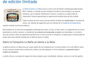 La franquicia La Mafia presenta nueva carta de edición limitada