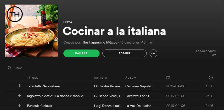 Cocinar a la italiana - Cocinar a la italiana con una playlist de Spotify