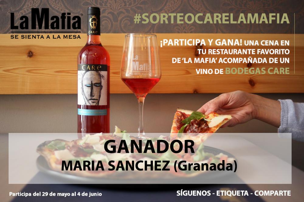 ganador care la mafia - Resultado del Sorteo de una cena en 'La Mafia' maridada con un vino de Bodegas Care.