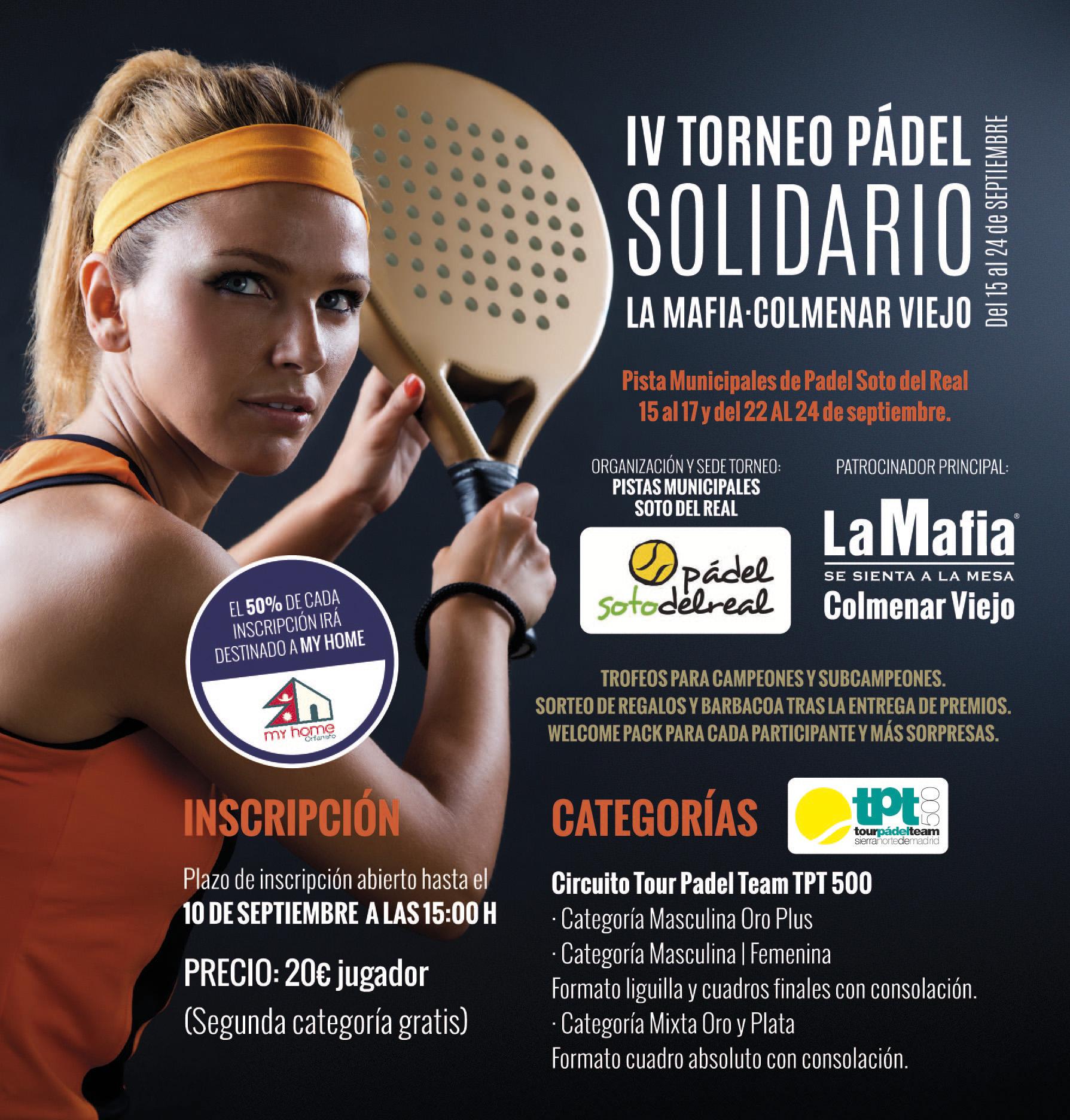 Mailing Torneo Padel Colmenar 2017 - La Mafia se sienta a la mesa Colmenar Viejo presenta su IV torneo solidario de Padel