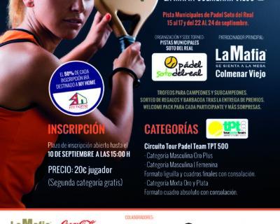Cartel Torneo Padel Colmenar 2017 400x320 - La Mafia se sienta a la mesa más solidaria. Actividades RSC deporte