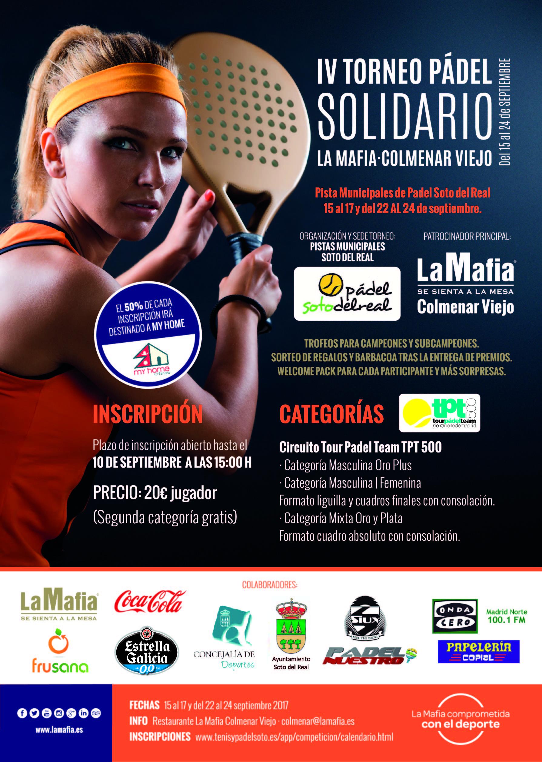 Cartel Torneo Padel Colmenar 2017 - La Mafia se sienta a la mesa más solidaria. Actividades RSC deporte