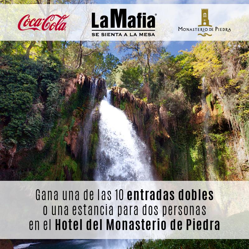 RRSS Sorteo Monasterio de Piedra V1 - La Mafia se sienta a la mesa y Coca-Cola te llevan a disfrutar del Monasterio de Piedra.