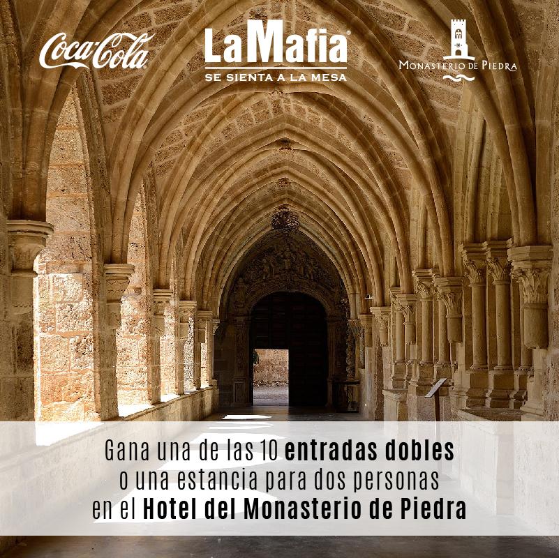 RRSS Sorteo Monasterio de Piedra V3 - La Mafia se sienta a la mesa y Coca-Cola te llevan a disfrutar del Monasterio de Piedra.