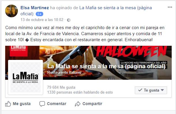Facebook La Mafia se sienta a la mesa - Nuestros clientes, los mejores embajadores de La Mafia se sienta a la mesa