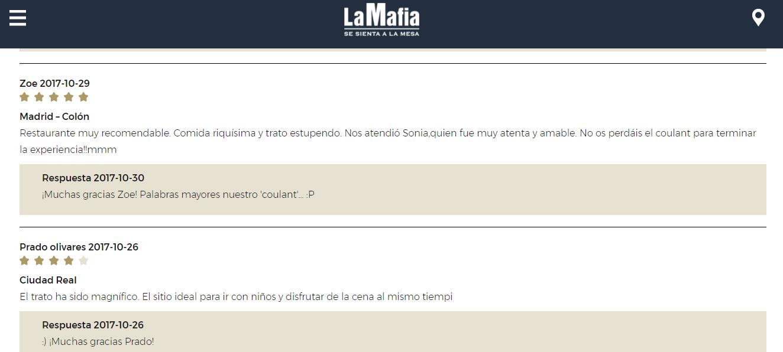 Opiniones La Mafia se sienta a la mesa - Nuestros clientes, los mejores embajadores de La Mafia se sienta a la mesa