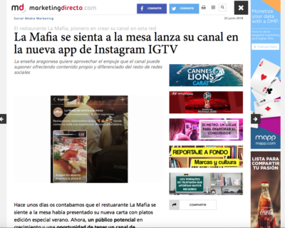 Captura de pantalla 2018 07 02 a las 16.26.26 400x320 - La Mafia se sienta a la mesa lanza su canal en la nueva app de Instagram IGTV