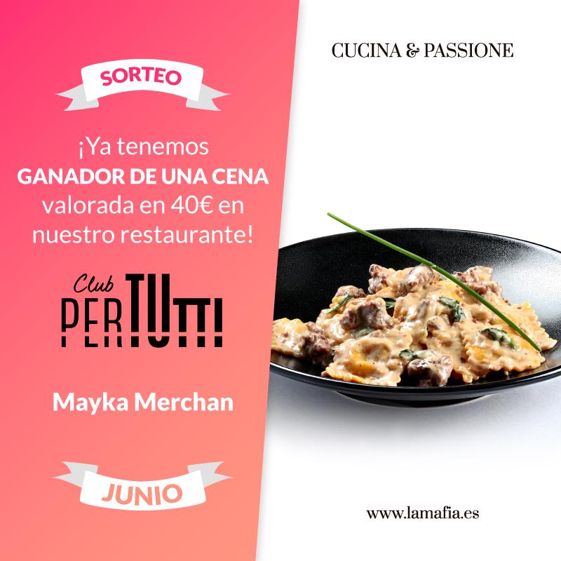Sorteo PerTutti Cena Junio - Ganador del sorteo Junio de una cena entre los clientes PerTUtti Oro.