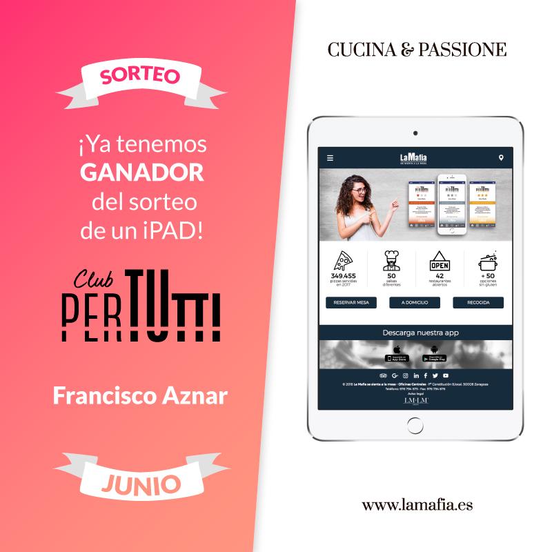 Sorteo PerTutti iPad Junio  - Ganador de un iPad en el sorteo entre los clientes PerTUtti Oro