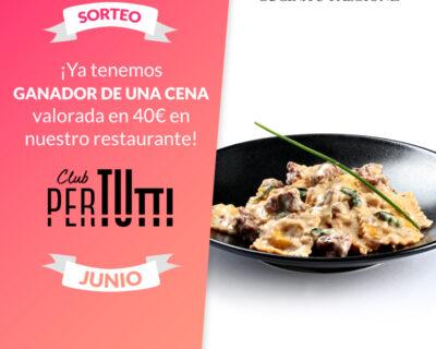 Sorteo PerTutti sin Cena Junio 400x320 - Ganador del sorteo Junio de una cena entre los clientes PerTUtti Oro.