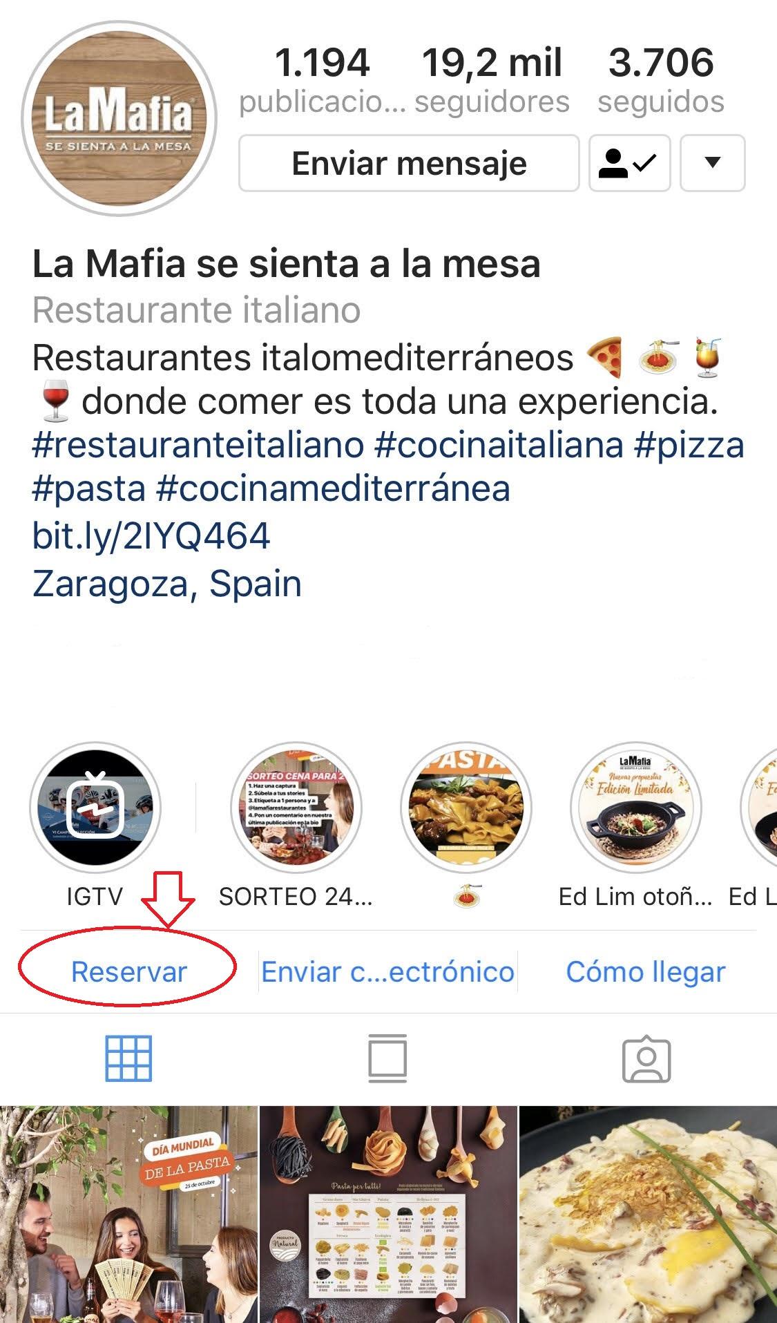 la mafia ig - Reserva en nuestros restaurantes desde Instagram