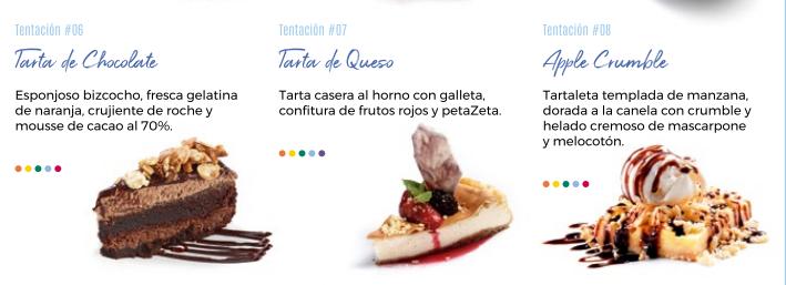 carta de postres - Y de postre… ¡tarta!, ¿cuál eliges?