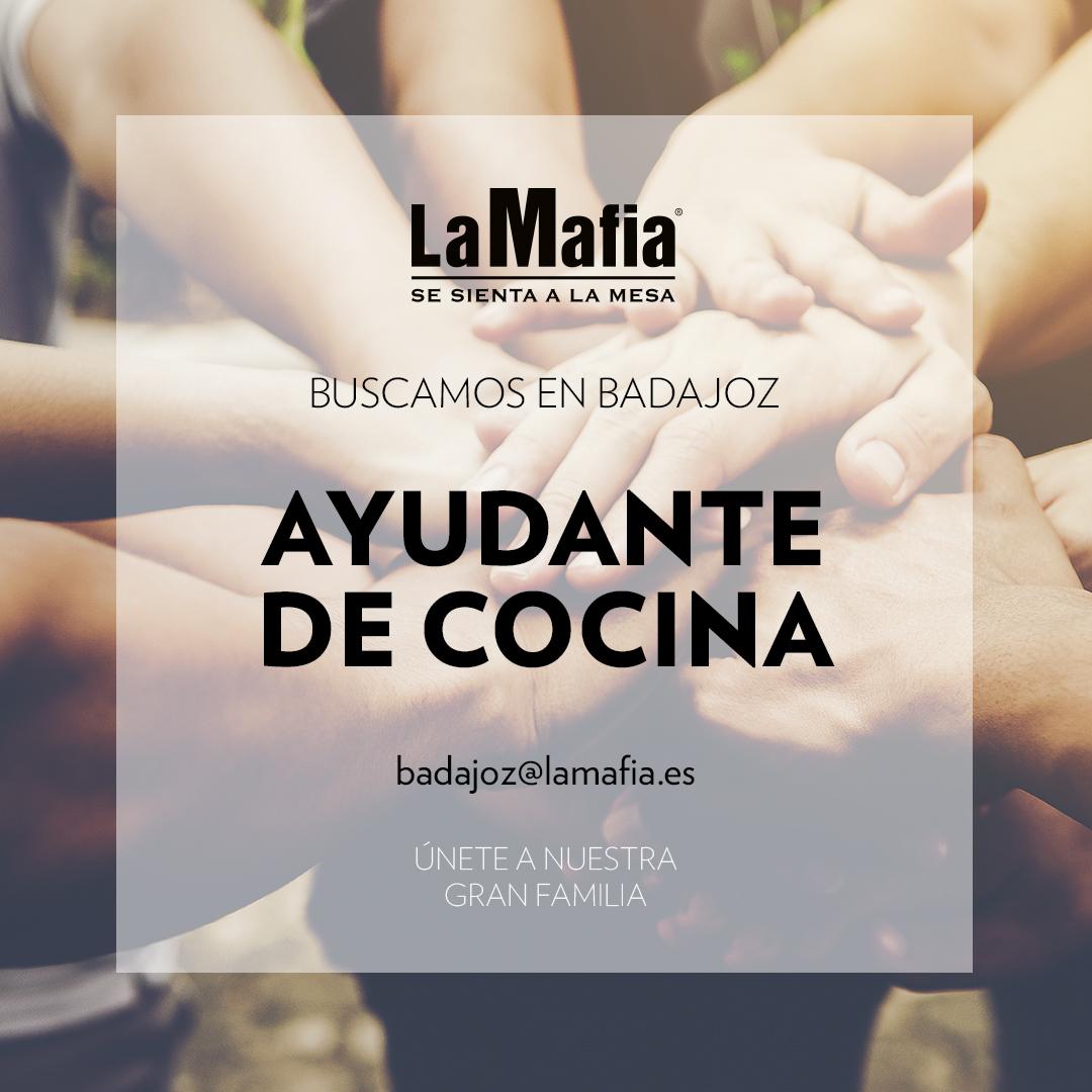 BUSCAMOS Equipo Badajoz Ayudante cocina - BADAJOZ — Buscamos ayudante de cocina en 'La Mafia se sienta a la mesa'