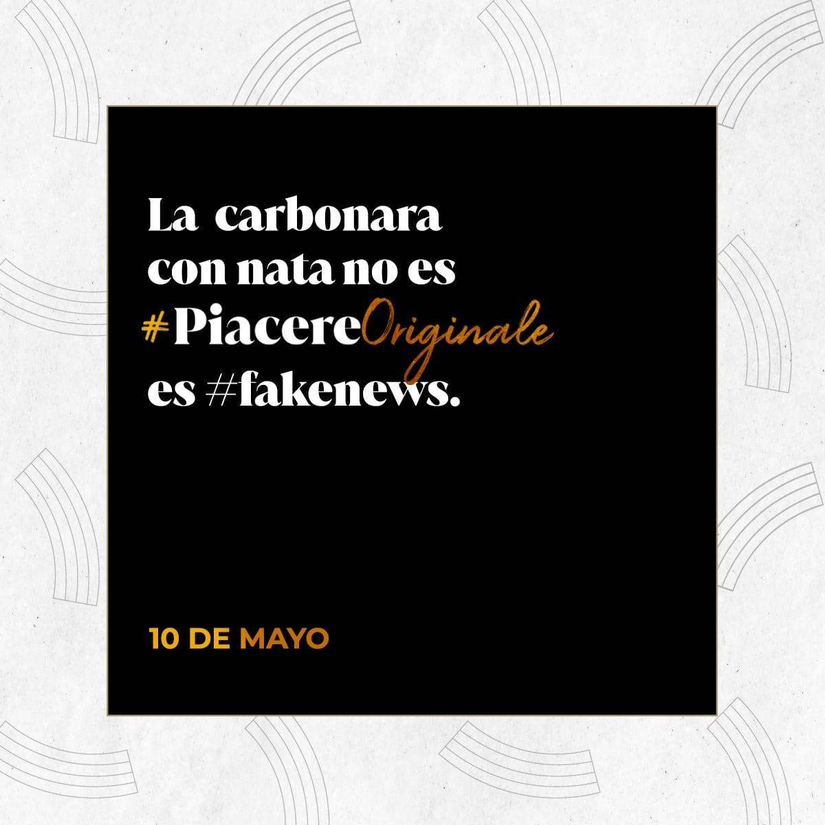 """carbonara original - """"La carbonara con nata no es #PiacereOriginale, es #FakeNews"""""""